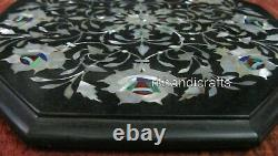 12 Inches Marble Sofa End Table Top Inlay Coffee Table with Mother of Pearl Work