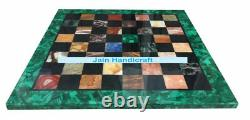 15 Black Marble Chess Table Top Room Decor Inlay Green Malachite game table
