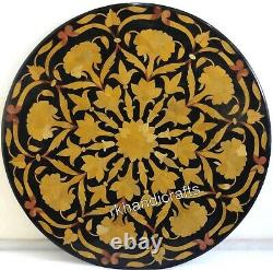 18 Inches Marble Coffee Table Top with Yellow Stone Inlay Art Bed Corner Table