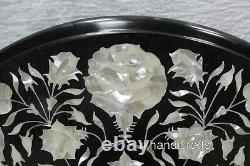 18 Inches Mother of Pearl Inlay Art Coffee Table Top Marble Patio Side Table Top