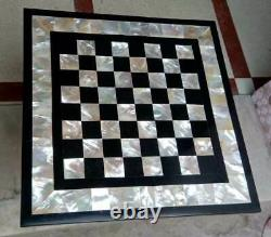18 black marble chess table top center inlay malachite home decor G23