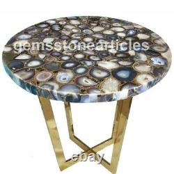 20x20 Round Black Agate Natural Color Stone Art Side Table Top Wedding Gift