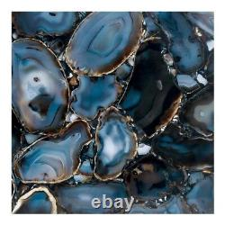 21 T Hex Accent Table Natural One of a Kind Agate Stone Mosaic Top Iron Base