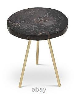 22 H End table black gray petrified wood polished top brass legs spectacular