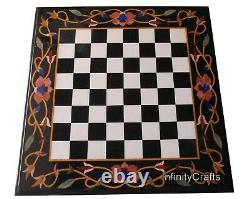 24 Inches Marble Coffee Cum Chess Board Table Top with Carnelian Stone Inlaid