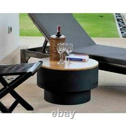 24 Round Fire Pit & Wooden Top Table Outdoor Heating Custom Designer