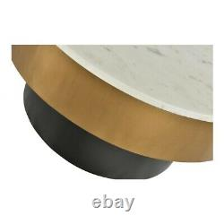 31.5 W Coffee Table Solid White Marble Top Brass Finished Iron Black Plinth