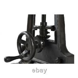 35.5 W Adjustable Table Hand Crank Solid Stone Top Industrial Iron