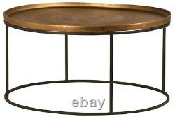 35 Dia. Remigio Coffee Side Table Iron Base Antique Brass Finished Aluminum Top
