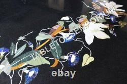 36 Black Marble Round Dining Table Top Floral Marquetry Inlay Garden Decor E615