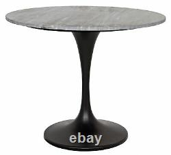 36 W Henley Dining Table Round Black Solid Marble Stone Top Metal Tulip Base