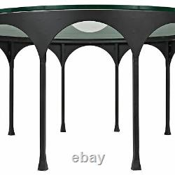 37 W Bennoit Coffee Table Round Solid Glass Top Black Metal Arches Base