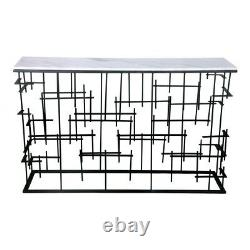 48 L Console Table Modern Iron Bar Base Solid Smooth Polished Marble Top