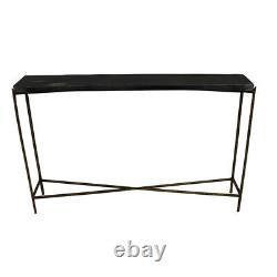 48 L Stone Console Table Solid Black Stone Top Textured Iron Base in Brass