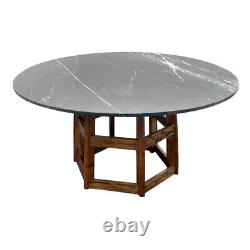 60 W Marble Dining Table Round Black Marble Stone Top Solid Wood Base