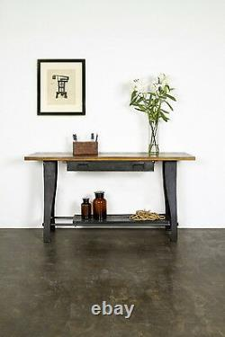 62 L Console table solid hardwood top heavy black iron base one drawer unique