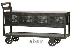 63 Long Fanette Carbon Polished Iron Mixed Wood Top Four Drawers Solid Rust 615