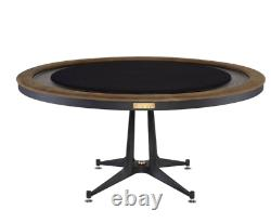 63 Rd poker table Industrial black wood iron base with top soft leather trim