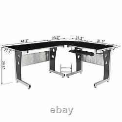 64 Modern L-Shaped Glass Top Office Workstation Computer Desk PC Table