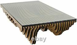 68 L Ronet Coffee Table Solid Tempered Glass Top Hand Crafted Plywood Veneer