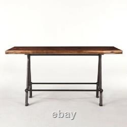 72 L Darius Table Recycled Hardwood Top Butterfly Joinery Industrial Iron Base