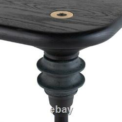 78.8 L Dining Table Charred Solid Oak Wood Top Contemporary Concrete Legs