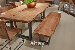 79 L Dining table live edge iron black legs solid acacia wood top spectacular