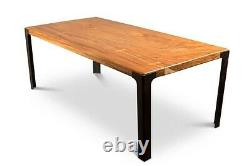 84 L Dining table solid acacia wood top smooth finish inset black steel legs