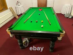 8ft Black Mahogany Snooker Table with 3 sectional slate bed & table tops