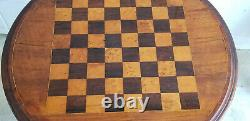 ANTIQUE 19c VICTORIAN BOXWOOD and ROSEWOOD TOP CHESS TABLE