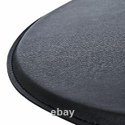 Adjustable Round Bar Table with PU Leather Top Steel Base Bistro Black
