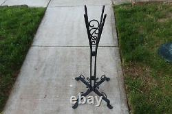 Antique Art Deco Bistro Table Globe Stand Iron Metal Legs Marble Top Scrolls