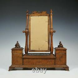 Antique Black Forest Carved Wood Vanity Mirror Dressing Table Top Jewelry Box