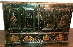 Antique Cabinet Chest Black Lacquer Asian Hand Painted Birds Figures Table Top