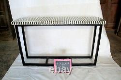 Antique Handmade Bone Inlay Black & White Console Table Top Stand Iron