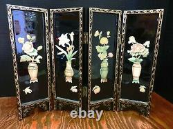 Antique Oriental Jade Flowered Black Lacquered Table Top Screen 14 x 17 x. 75