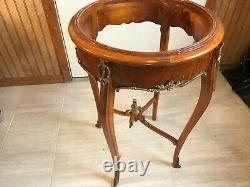 Antique Round Black Marble Top pedestal Table 30 Inch Tall 19 Inch Diam