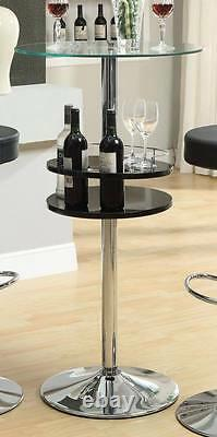 Black Bar Table with Tempered Glass Top and Wine Storage Rack