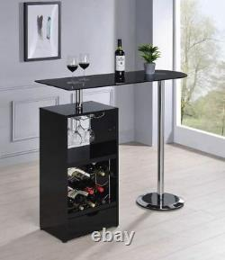 Black Bar Table with Wine Bottle Storage and Glass Top by Coaster 120451