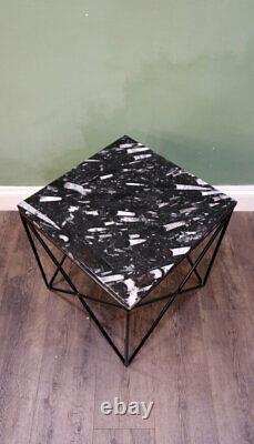 Black Fossilized Marble Top on Geometric Reverse Pyramid Base Side Table