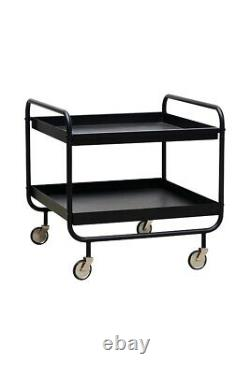 Black Stunning Trolley With Two Table Tops as Trays by House Doctor
