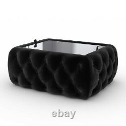 Black Velvet Storage Coffee Table with Glass Top Buttoned Clio