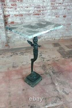Bronze Winged Cherub Console withMarble top