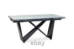 CAVALLI Black Glass or Marble Top & Black Metal Legs Extendable Dining Table