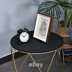 Chic Round Coffee Table Side/End Storage Black Wooden Top Gold Tone Metal Legs