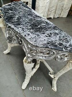 Console Silver Console With Black Marble Top #mb25