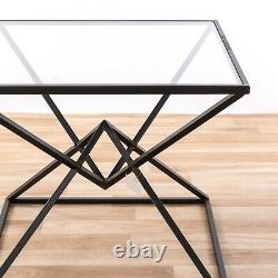 Contemporary Metal / Glass Top Twin Pyramid Side Table