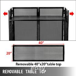 DJ Event Facade White/Black Scrim Metal Frame Booth + 20 x 40 Flat Table Top
