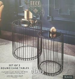 Deco Black Glass Top Metal Set of 2 Cage Tables Coffee / Side Lamp Table Modern