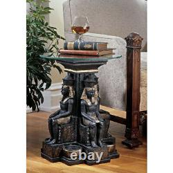 Design Toscano Ramses II Egyptian Sculptural Glass-Topped Table